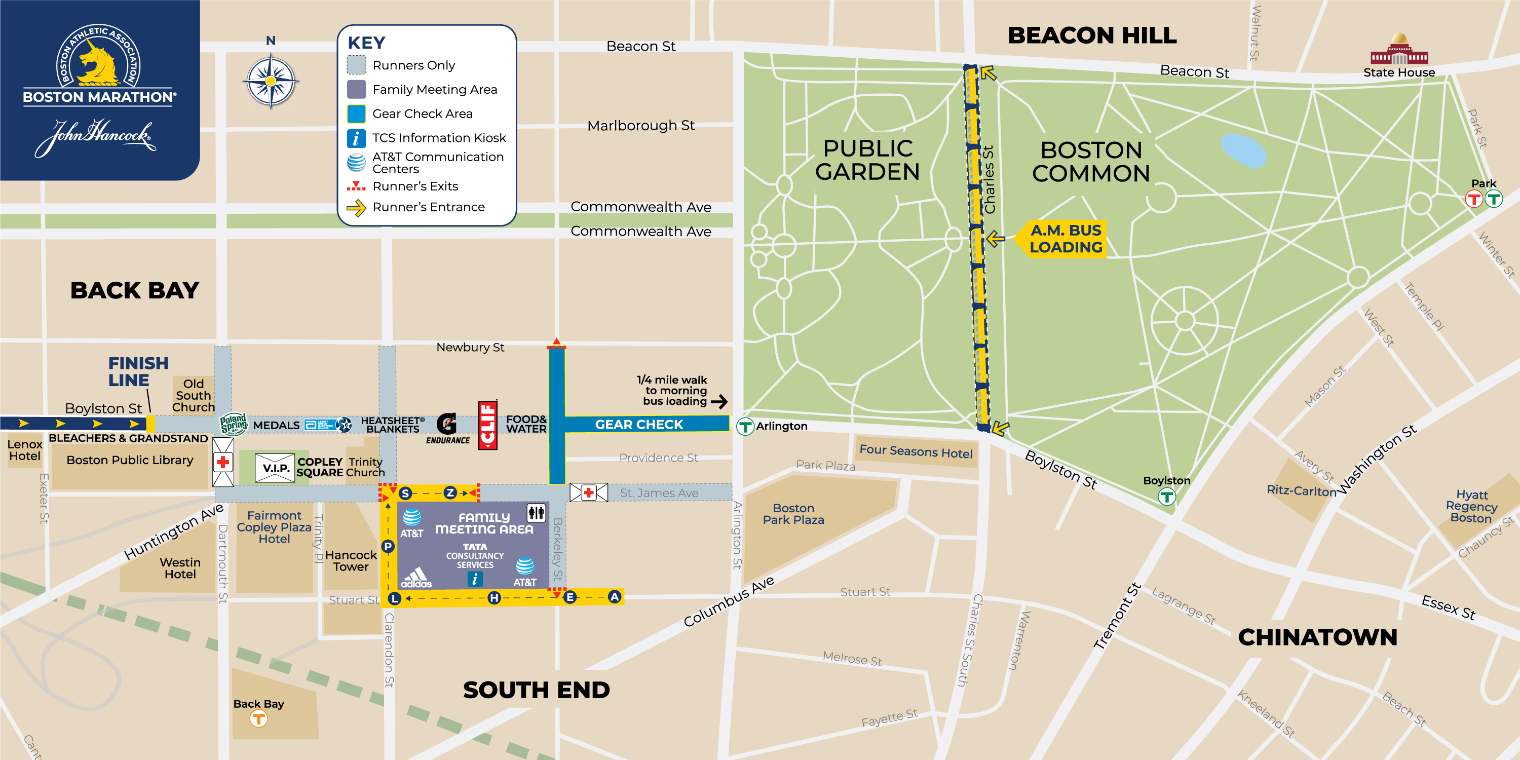 2020 Boston Marathon Finish Area Map