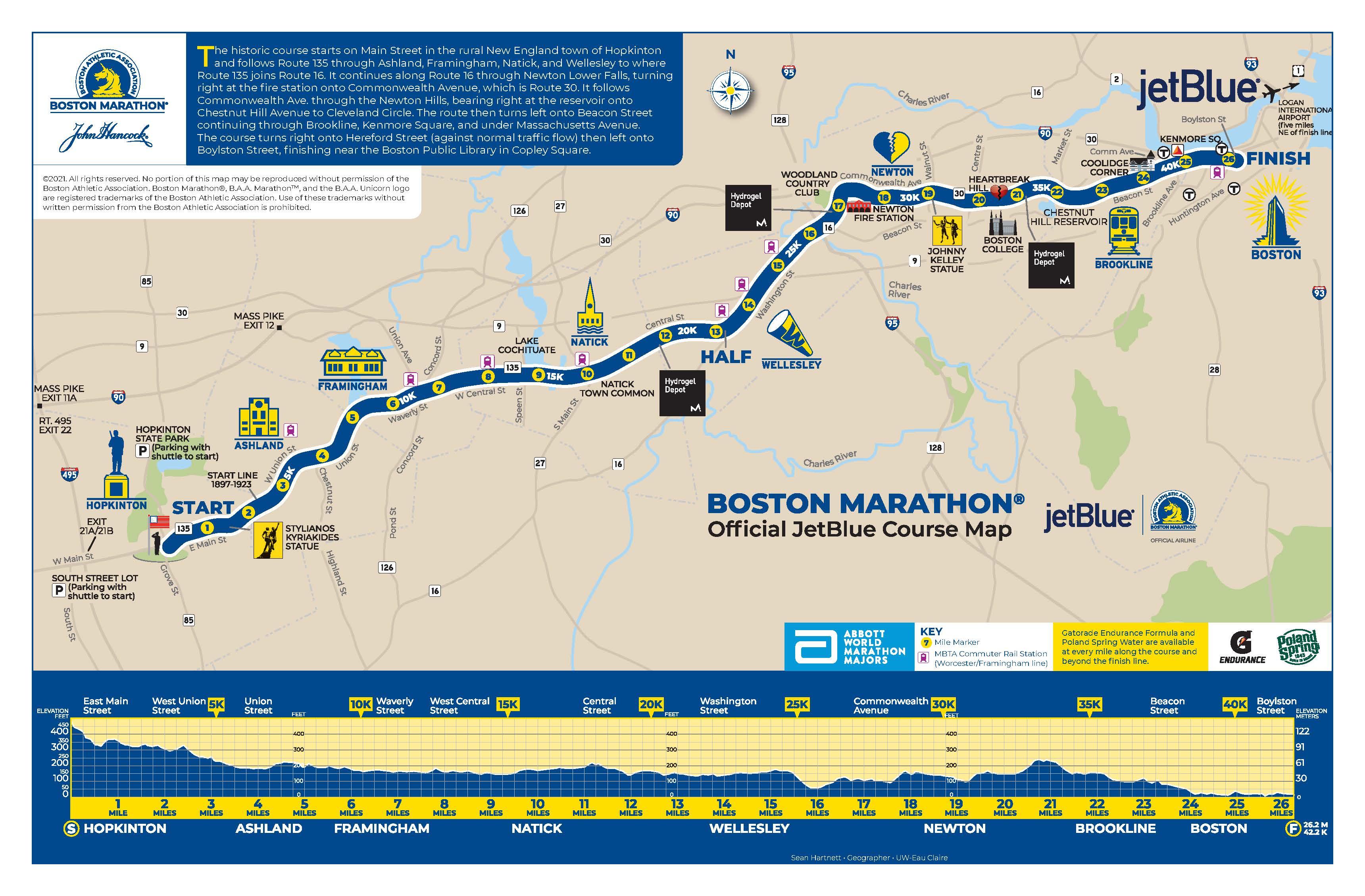 Boston Marathon Course Map